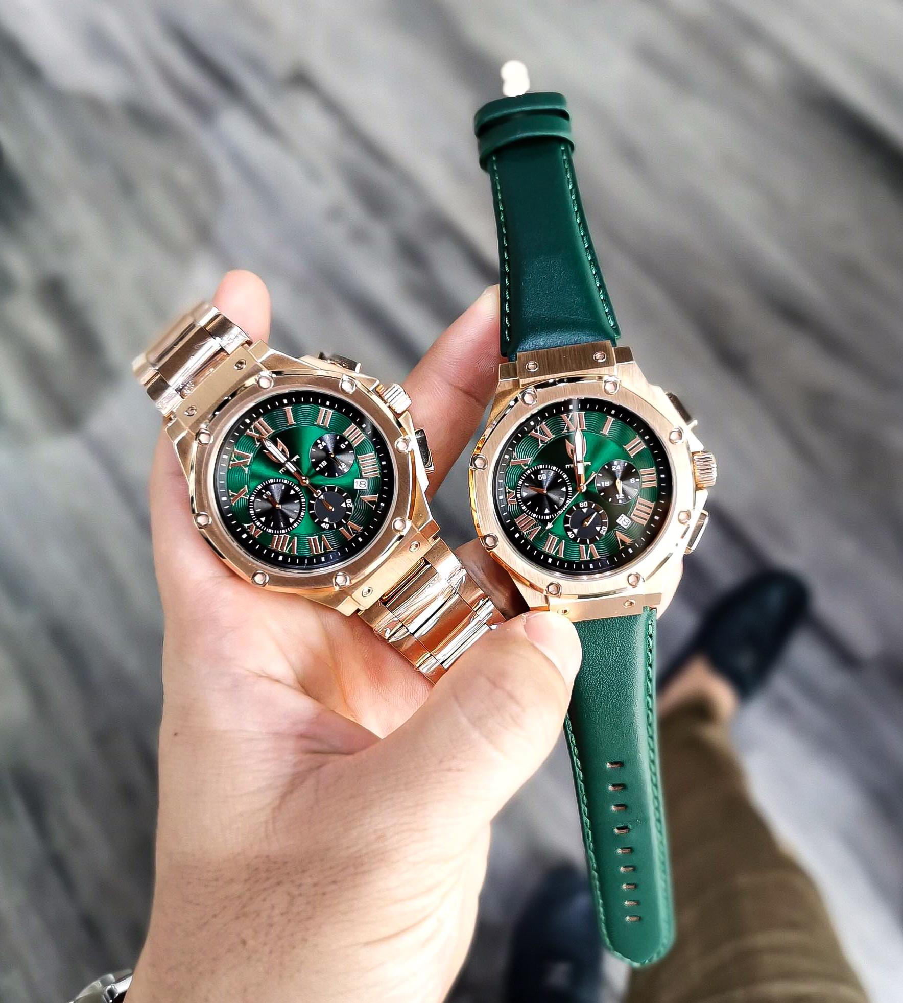 Rosengold & Grün – Leder