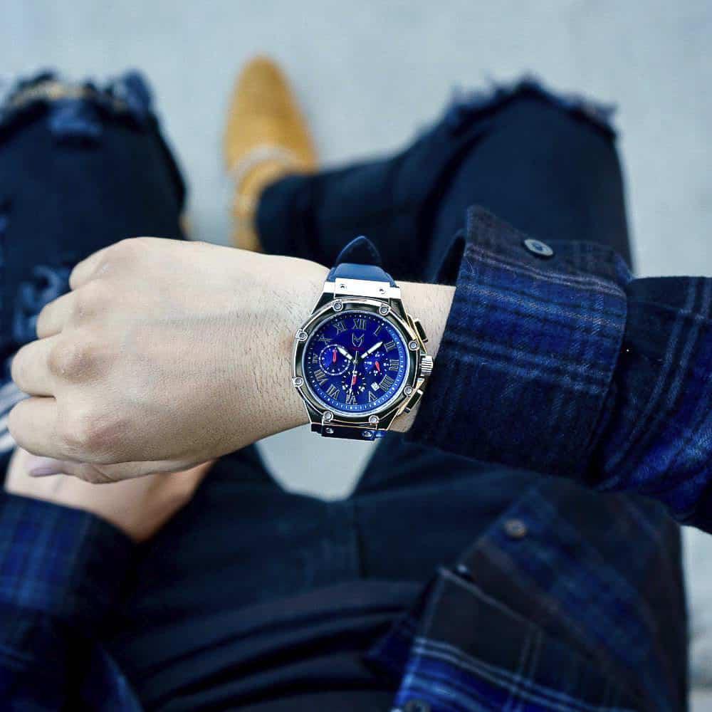 Silber & Blau – Leder